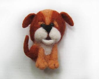 """A felt brooch - """"Playful puppy"""""""
