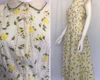 Vintage Nellie Don Cotton Eyelet Mid Century Dress