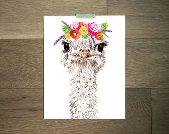 Watercolor animal art print - 8 x 10 - black and white - ostrich- flower crown
