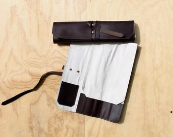 Leather knife roll - Small - 5 slot - Brown pull up leather - travel knife bag