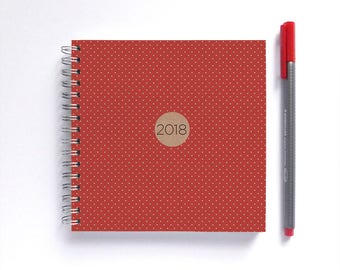 2018 Weekly Planner • SMALL 14cm/5.5in Square • Polka Dots Choose Your Colour