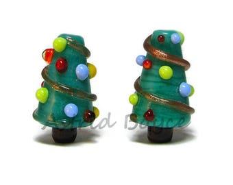 Christmas Trees Seasonal Trees Miniature Tree Dollhouse Tree Artisan Lampwork Beads Glass Bead Pair - dollhouse miniatures - glass tree bead