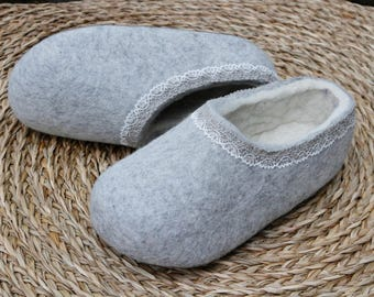 Felted wool slippers in Gray  with White inside. Made to order.
