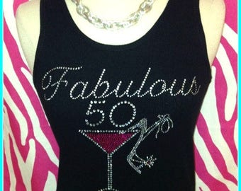 Fabulous 50 Birthday tank top Pink Martini Rhinestone Birthday tank top 50 birthday Girls night out Birthday trip 50th birthday party pink