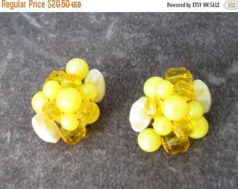 25% Off Vintage Signed W Germany Vintage Spring Yellow Glass and Plastic Cluster Earrings