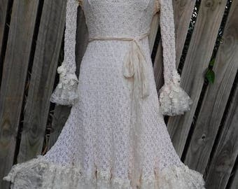 20%OFF wildskin, fantasy, alternate,ivory, romantic, gypsy, dress, boho, wedding dress,lace, bohemian, dress, bridal, stevie nicks, xs,s, m