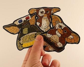 gremlins stickers laptop labels tags - gizmo films monsters 80s mogwaï illustration