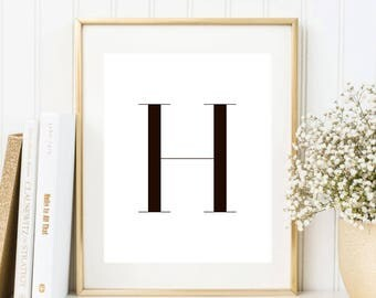SALE -50% Letter H Monogram Alphabet Name Digital Print Instant Art INSTANT DOWNLOAD Printable Wall Decor