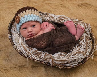 Chunky baby hat - newborn size - ready to ship
