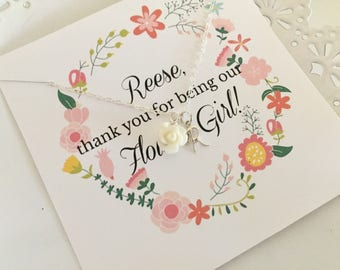 Personalized Flower Girl Necklace | White Flower Girl Necklace | Initial Charm | Girls Jewelry | Flower Girl Gift | Custom Necklace