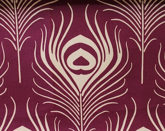"FABRIC - 2 Yards - Thomas Paul for Duralee ""PLUME"" Print in Plum"