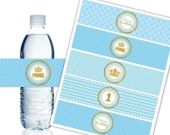 1st Birthday Water Bottle Labels, Printable, Blue and Gold, Prince Party Decor, Birthday Boy - Instant Download - DP493