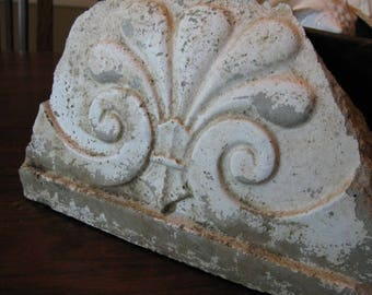Salvaged  White Painted Chippy Concrete Seashell Remnant Found in Old Southern Barn Architectural Cottage Decor French Flair Beach Bookend
