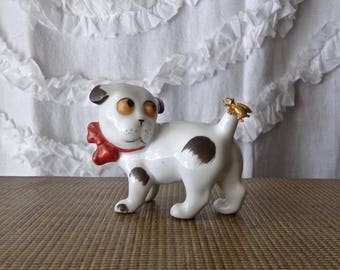 Vintage Porcelain Dog Gotha Pfeffer Germany 1940s Fly On Tail