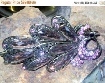 June Savings TREASURY iTem Beautiful Vintage Purple Pink Hair Clip Bling Swarorski Crystals Rhinestones XX Large  Wedding Party Art Deco Bar