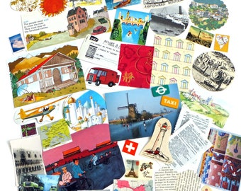 Travel Collage papers, over 50 pieces, Paper Ephemera pack, Collage pack, scrap pack, paper scraps, craft supplies, Scrap-booking