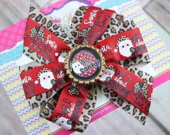 Baby Bows, Toddler Bows, Girls Hair Bows, Hair Clip, Boutique Bow, Christmas Hair Bow Headband, Cheetah Leopard Santa Hair Bow, 4 Inch Bow