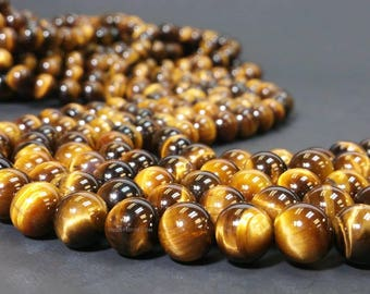 Grade A Golden Tiger Eyes 4 6 8 10 12 or 16 MM Smooth Round Beads - Full Strand 15.5 inches (G4027-MS)