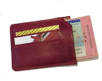 Card wallet holder unisex red leather