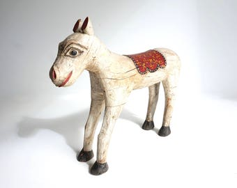 Wooden Horse Large White Horse Teak Painted Horse Folk Art India Horse Shipping Included in the U.S.