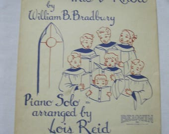 Jesus Loves Me, This I Know Sheet Music Piano Solo With Words Used and Age Worn Use as Music or Craft Project or Vtg. Christian Wall Hanging