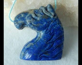Carved Gemstone Lapis Lazuli Horse Head Pendant Bead,35x28x10mm,19.0g(f0098)