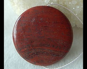 Red River Jasper Gemstone Round Pendant Bead,31x7mm,13.1g(f0768)