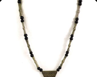 Tuareg Necklace Silver Pendant and Black Beads Mali Africa 101130