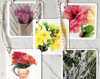 Gift Tags Square Floral