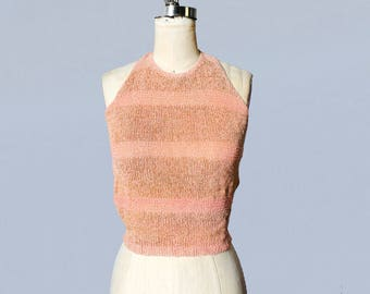 RARE 1930s Knit Blouse / 30s Pink and Gold Halter Top !!! / Tie Back