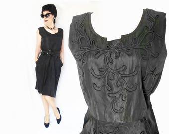 Black Pencil Dress is a Little Black Dress, Black Taffeta 50s New Look Mid Length Dress with Deep POCKETS, Minimalist Sheath, Womens Large