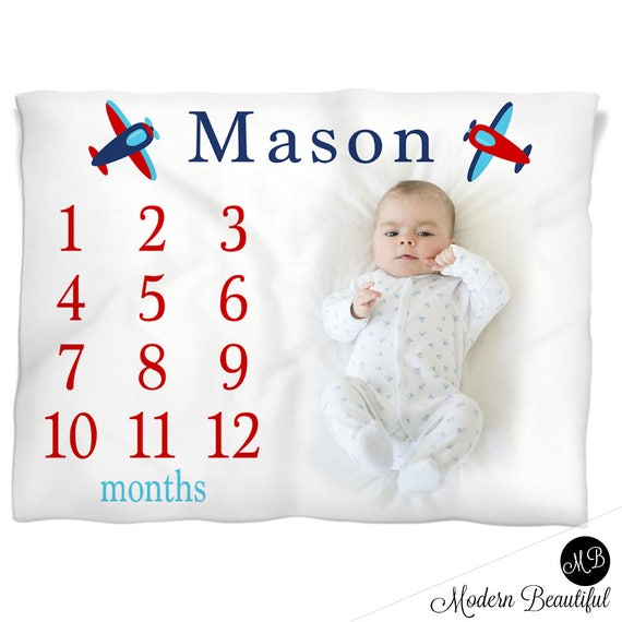 Airplane milestone photo baby blanket personalized baby gift boy il570xn negle Gallery