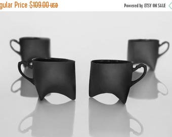 SALE Black Porcelain cups set of four , ceramic cups handmade coffee cups or tea cups by Ende