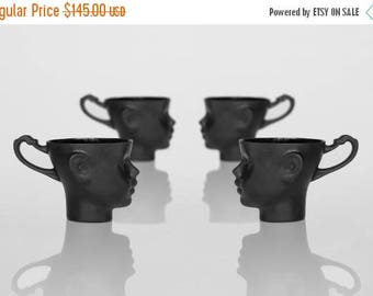 SALE Porcelain doll head cups in black - whimsical set of four black ceramic artisan mugs, for coffee or tea