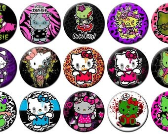 """2-1/4"""" - HELLO KITTY ZOMBIE -  Lot of 15 Buttons - Pin Back Button Badge"""