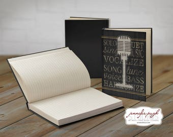 Music 5x7 Hardback Bound Journal -Inspirational, Word Art -Black Gold