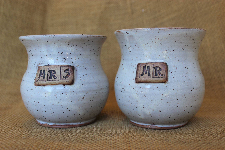 Mr and mrs wheel thrown stoneware handleless mugs wedding - Handleless coffee mugs ...