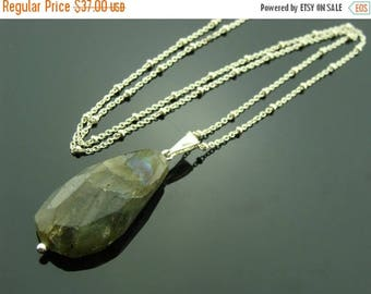 Flash Labradorite 925 Sterling Sliver Pendant Necklace
