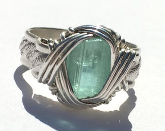 Blue-Green Elbaite Tourmaline Crystal in hand-Wrapped Silver Ring, sz. 6.5