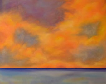 Landscape Painting ... Sunset Art ... Oil Painting ... Abstract Landscape ... Large Original Art ... Beach Decor