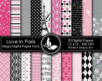 40% off Love In Paris Mega Paper Pack - 20 Printable Digital papers - 12 x12 - 300 DPI