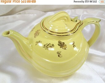 ON SALE Vintage Hall Teapot 6 Cup USA Sundial Canary Yellow Gold Leaf Acorns Trim 0799