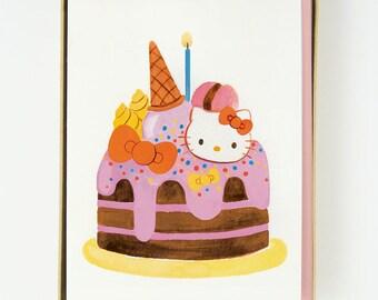 Hello Kitty Cake Card 8 pcs