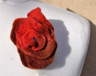 Felt flower, brooch, flower,  beads