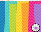 40% OFF SALE Chevron Digital Paper Bright, zigzag digital background, chevron scrapbook paper, zigzag digital paper, Commercial Use