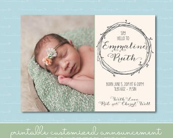 Wreath Birth Announcement with Photo