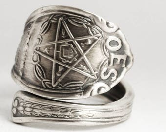 Order of the Eastern Star Ring, OES Ring, Masonic, Freemason, Sterling Silver Spoon Ring, Holy Bible, Handmade Gift, Custom Ring Size (6936)