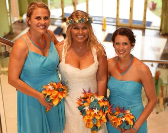Bright tropical destination bouquet Orange Calla lily with turquoise orchids wedding bouquet and boutonniere set