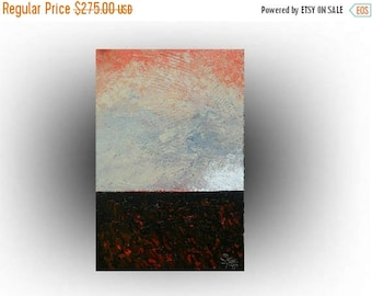 ON SALE Modern Landscape Abstract painting Orange and GRAY Pallette knife Impasto Heavy textured - Peace Haven - 24 x 36 - Skye Taylor