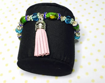 Multicolor layering Bracelet, boho  tassel, silver tone, Hand Made in The USA, Item No. L069